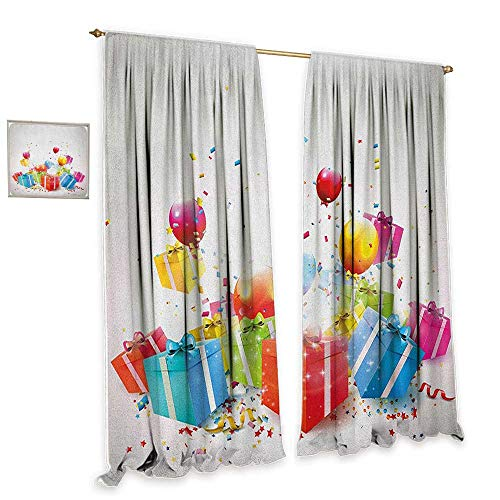 "cobeDecor Birthday Insulated Sunshade Curtain Surprise Boxes with Bow Ties Confetti Rain Colorful Balloons Celebratory Set Up Home Garden Bedroom Outdoor Indoor Wall Decorations 72"" Wx84 L Multicolor"
