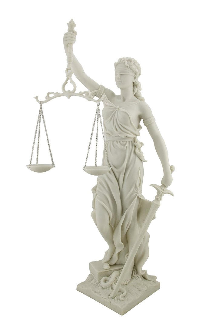 Large Lady Justice Roman Goddess Justitia Themis Statue Marble Finish 29 In.