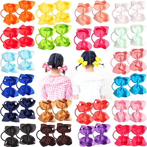 40Pcs 4.5 Inches Boutique Hair Bows Elastic Hair Ties Grosgrain Ribbon Big Cheer Bow Ponytail Holder Rubber Hair Bands for Girls Toddlers Kids Teens In Pairs