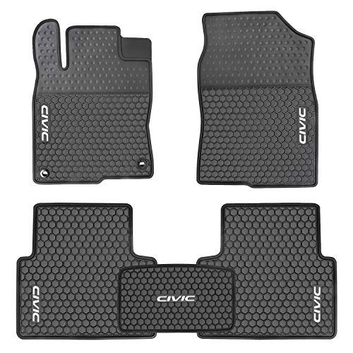 Ucaskin Car Mat Custom Fit for Honda Civic 10th 2016 2017 2018 2019 Rubber Floor Liners All Weather Black White Heavy Duty Mats Set Auto Liner Front Rear Protection Odorless Easy Clean