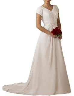 OYISHA Womens Short Sleeve Lace Wedding Dresses for Bride with Sweep Train WD005