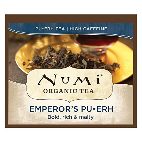 Numi Organic Tea Emperor's Pu-erh, 100 Count Box of Tea Bags, Black Tea (Packaging May Vary) from Numi