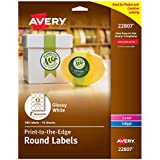 """Avery 2"""" Round Labels for Laser & Inkjet Printers, 180 Glossy White Labels (44807)"""