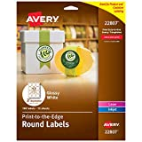Avery 2 Inch Round Labels, Glossy White,180 Round Labels (22807)