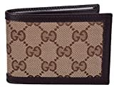 Gucci Men's Beige Brown Canvas Mini GG Guccissima Bifold Wallet