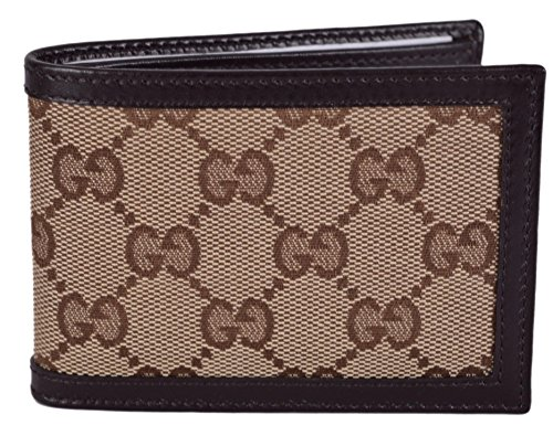 Gucci Men's Beige Brown Canvas Mini GG Guccissima Bifold Wallet Lux Mini Wallet
