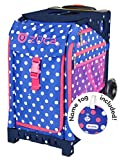 Zuca Polka Bots Sport Insert Bag and Navy Blue Frame with Flashing Wheels