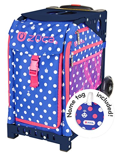 Zuca Polka Bots Sport Insert Bag and Navy Blue Frame with Flashing Wheels by ZUCA