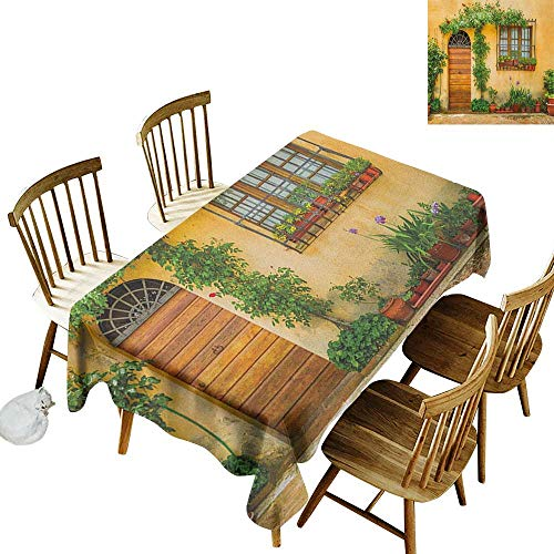 (kangkaishi Easy to Care for Leakproof and Durable Long tablecloths Outdoor Picnic Porch with Different Flowers Pots Fresh Green Plants City Life in Tuscany W52 x L70 Inch Apricot Green Brown)