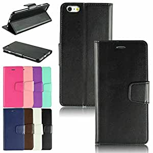 """WensLTD Premium Quality Paint Edge PU Leather Card Slot Wallet Flip Stand Case Cover for iPhone 6 4.7"""" Black"""