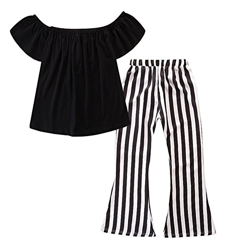Yokidi Mommy and Me Clothes Women Toddler Girl Off Shoulder Top + Stripe Flare Pants Family Matching Outfits Set