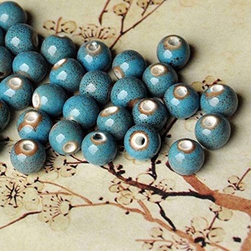 Calvas 100 Pieces/Lot 8mm Multicolor Ceramic Beads Materials Flower Glaze Charm Bracelet Porcelain Round Bead Women Men Fashion Jewelry - (Color: Blue Color) ()