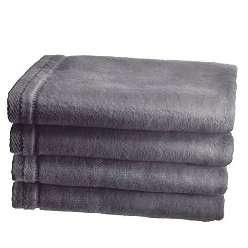 Creative Scents Cotton Velour Hand Towel Set - (4 Pack -16 x 26 inches) Large Extra Soft Gym Towels for Face, Salon and Spa - Luxury Guest Hand Towels for Bathroom (Gray)