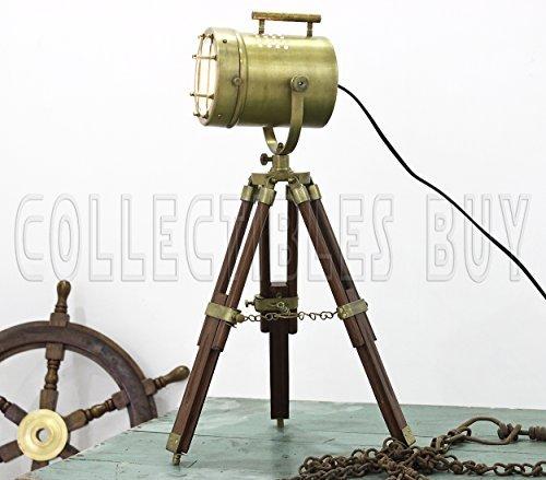 Vintage Decorative Marine Table Lamp Nautical Royal Wooden Tripod Desk Decor Maritime Replica 2017 (Brown-Brass)