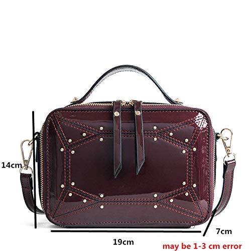 GMYANDJB Jelly Handbag Small Trunk Purses Glossy Patent Leather Women Crossbody Bags Box Fashion Rivet Luxury Designer Mini Shoulder Bag ()