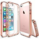 Ringke FUSION Compatible with iPhone SE Case, Crystal Clear PC Back TPU Bumper [Drop Protection, Shock Absorption Technology] for iPhone SE (2016), iPhone 5S (2013), iPhone 5 (2012) - Rose Gold