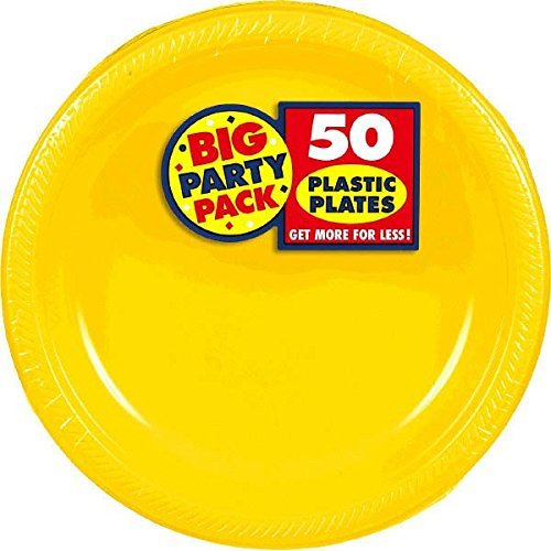 Amscan Big Party Pack 100 Count Plastic Lunch Plates, 10.5-Inch, Sunshine -