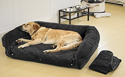 Orvis Memory Foam Bolster Dog Bed with Snap-Off Pads/X-Large Dogs 90-120 Lbs, Slate, X Large