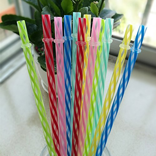 KKMO 12 Piece 9 inch Clear BPA-Free Reusable Plastic Thick Drinking Straws 16 OZ Mason Jar Straws Small Stripe for 20 30 OZ Yeti