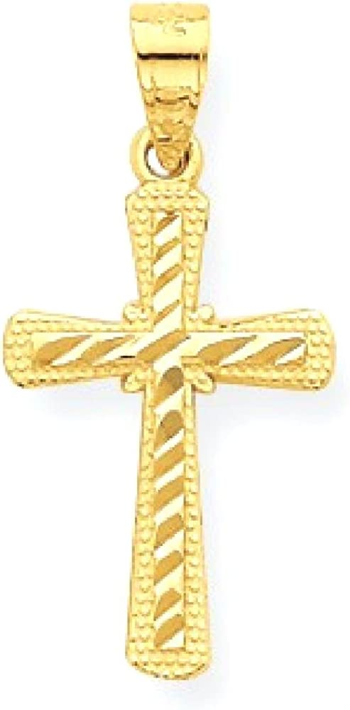 10k Yellow Gold Cross Religious Pendant Charm Necklace Latin Fine Jewelry Gifts For Women For Her