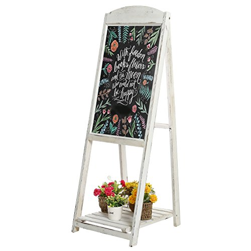 MyGift 45-Inch Vintage Whitewashed Wood A-Frame Sidewalk Menu Chalkboard Sign with Display Shelf