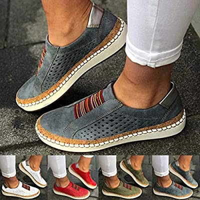 Dermanony Women's Slip on Sneakers Fashion Hollow-Out Round Toe Casual Shoes Slide Flat Outdoor Sneakers for Women