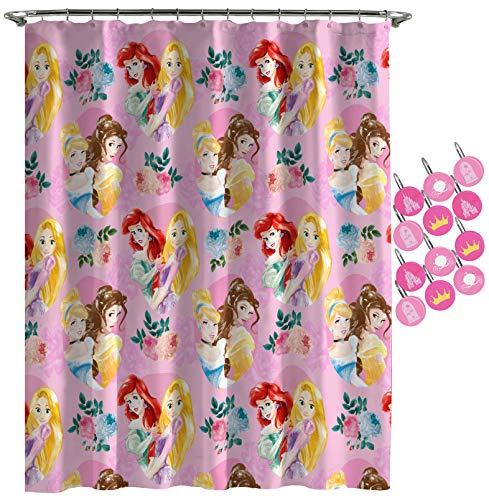 Jay Franco Disney Princess Sassy Shower Curtain & 12-Piece Hook Set & Easy Use - Kids Bath Set Features Belle & Cinderella (Official Disney Princess Product)