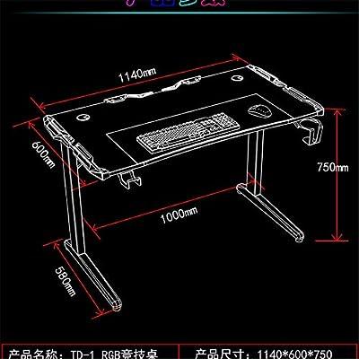 Yamyannie Mesa de Ordenador Elegante Y Fresco RGB Mesa De Juego Competitivo del Hotel Juego De Fibra De Carbono Textura De Anclaje Escritorio De La Computadora Escritorios (Color : Black, Size: Amazon.es: