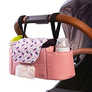 Universal Stroller Organizer with Insulated Cup Holders by Ida Babies – Hand & Shoulder Strap – Storage for Diapers…