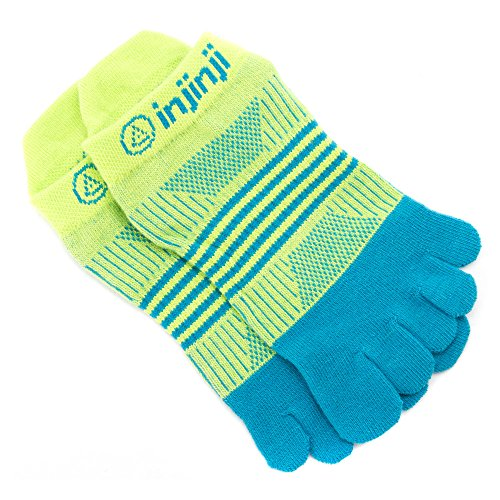 761072931394 - Injinji Women's Run Lightweight No Show Coolmax Xtralife Socks (Neon Green Turquoise, Medium / Large) carousel main 1