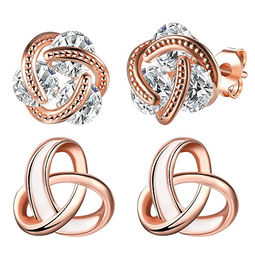 - 14K Rose Gold Heart Love Celtic Knot Cubic Zirconia Diamond Studs Earrings for Women CZ Post Hypoallergenic Set