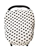 Stretchy Baby Car Seat Cover Canopy with Snaps Multi-use Nursing, Shopping Cart, & High Chair Cover, Blanket ''Cross'' Super Soft, Breathable Fabric Baby Shower Gift