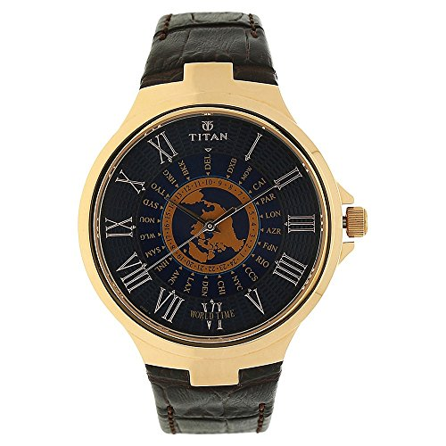 Titan Men's Round Blue Dial Brown Leather Strap Watch