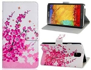 Plum Blossom Imprimir imitación de cuero stand Funda protectora para el Samsung Galaxy Note N9000 N9005 3 (blanco y rojo)