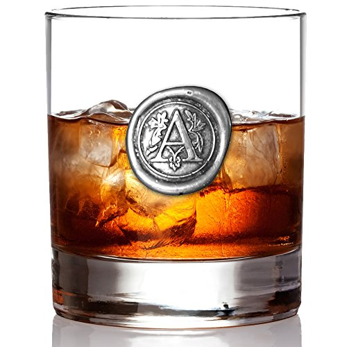 Personalized Rocks Glasses (English Pewter Company 11oz Old Fashioned Whiskey Rocks Glass With Monogram Initial - Unique Gifts For Men - Personalized Gift With Your Choice of Initial (A))