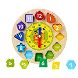 CCINEE Wooden Teaching Clock Puzzle Clock Toys Wooden Educational Toy with Numbers and Shapes Sorting Blocks