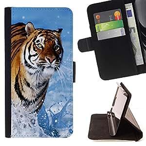 BullDog Case - FOR/Samsung Galaxy A3 / - / tiger blue water nature sun summer /- Monedero de cuero de la PU Llevar cubierta de la caja con el ID Credit Card Slots Flip funda de cuer