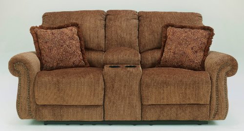 Signature Design by Ashley Macnair Umber Reclining Power Loveseat with Console For Sale