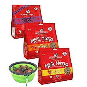 Stella & Chewy's Freeze Dried Dog Food & Snacks - Super Meal Mixers 8-ounce Bag With Hot Spot Pets Food Bowl - Made in USA (Turkey)