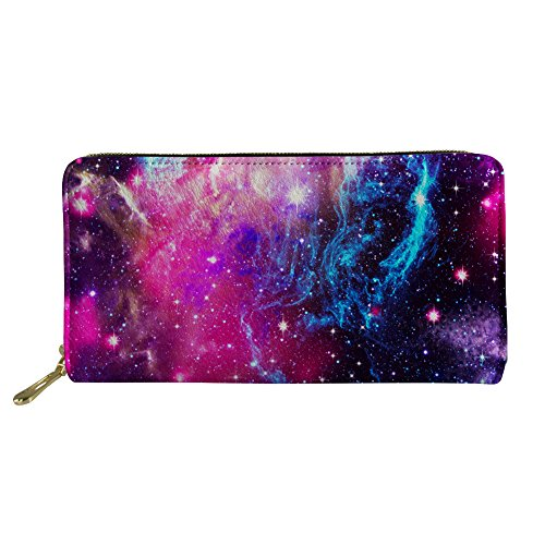 HUGS IDEA Hipster Galaxy Pattern Long Wallet Women Shopping Cash Card Storage Purse Clutch Bags