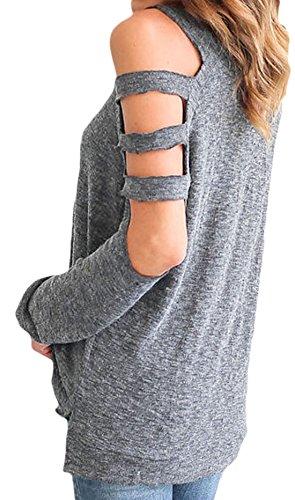 erdbeerloft - Camiseta de manga larga - para mujer gris