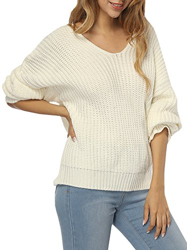 Dolman Sleeve Tunic Sweater - Womens Sweaters Oversized V Neck Off Shoulder Long Sleeve Cable Knit Pullover Sweater Tunic Tops (Medium, White)