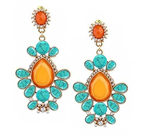 Monika Friend 18k Yellow Gold Over Bronze Turquoise with Orange MOP and Clear Swarovski Earring