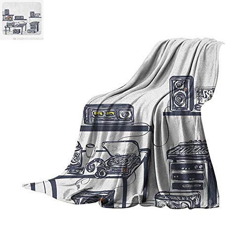"""Modern Throw Blanket Recording Studio with Music Devices Turntable Records Speakers Digital Illustration Print Artwork Image 50""""x30"""" Cadet Blue"""
