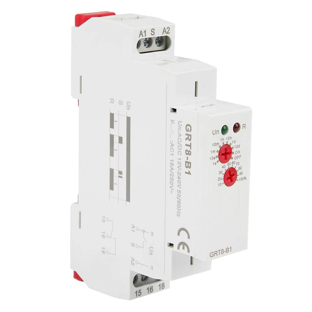 GRT8-B1 AC/DC 12V~240V Delay Time Relay, Mini Power Off Delay Time Relay DIN Rail Type with LED Indicators