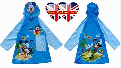 Children Raincoat, Mickey Mouse Raincoat/ Waterproof.(4 Sizes : S , M , L , XL) (M) (Kids Fancy Dress Next Day Delivery)
