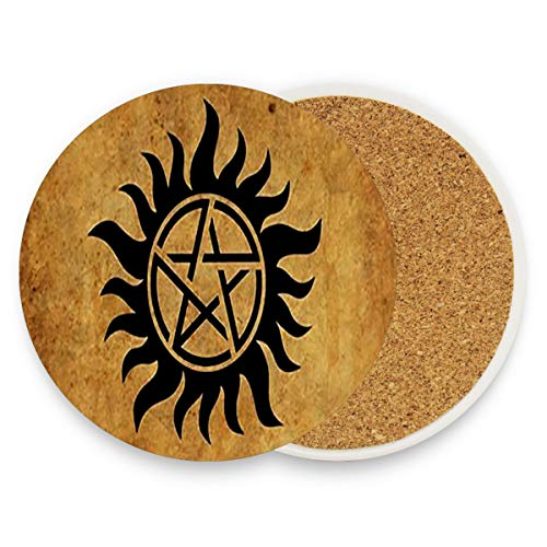 Glass Devil Sanding Tool - Supernatural Anti Possession Demon Devil's Trap Coasters,Protection for Granite,Glass,Soapstone,Sandstone,Marble,Stone Table - Perfect Cork Coasters,Round Cup Mat Pad for Home,Kitchen or Bar
