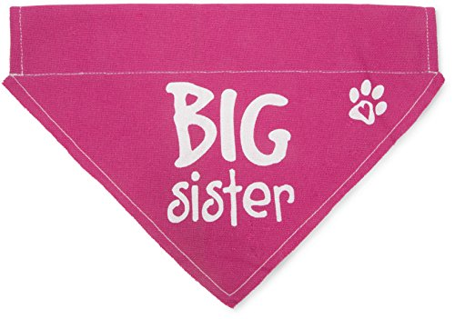 Pavilion Gift Company 45614 Pavilion's Pets - Pink Paw Print Large Dog Slip on The Collar Bandanna - Big Sister