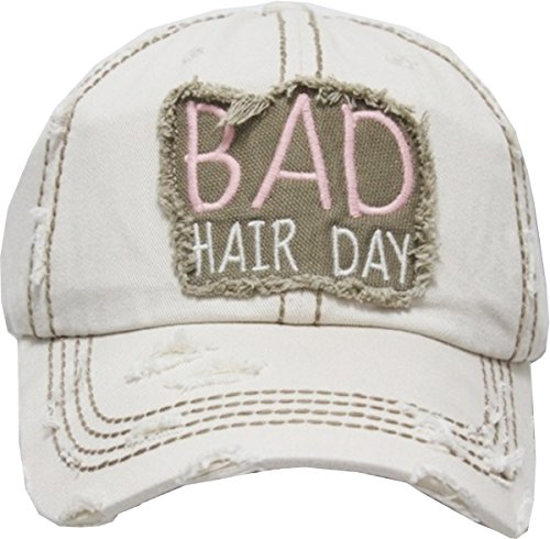 - Bad Hair Day Hat KBV-1138 STN Ladies Womens Vintage Baseball Cap Distressed Washed Hat