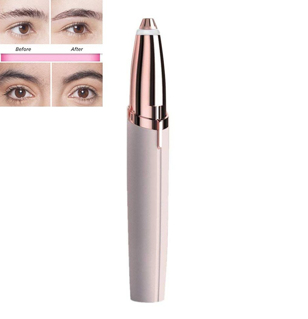 Flawless Brows Electric Eyebrow Hair Remover Eyebrow Trimmer Women's Painless Facial Hair Remover (Pink) Sallypan